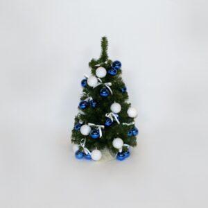 Alberello h 60 decorato blu bianco