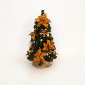 Alberello 60 cm decorato oro