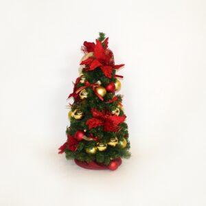 Alberello decorato cm 60 oro e rosso