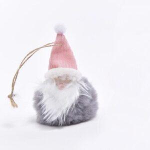 Babbo Natale su sfera pelosa grigia