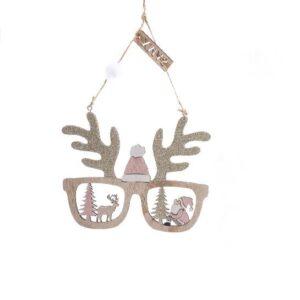 Decorazione occhiali in legno rosa cm 15