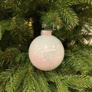 Sfera bianca vetro perla cm 8
