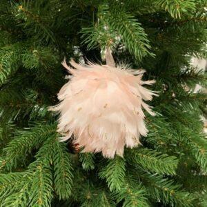 Sfera piumata da appendere all'albero, colore rosa, diametro cm 10